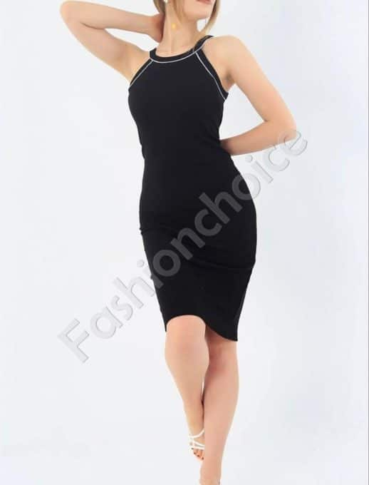 Лятна рокля от фин рипс с тънки презрамки-черно-код 7480
