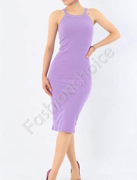 Лятна рокля от фин рипс с тънки презрамки-лила-код 7480-2