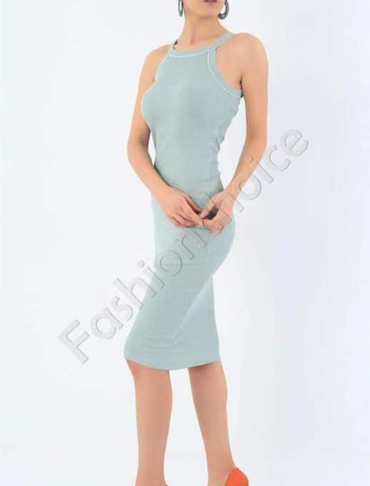 Лятна рокля от фин рипс с тънки презрамки-цвят мента-код 7480-1