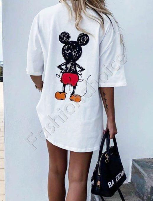 Актуална широка тениска с щампа Мики- бял цвят Код 969