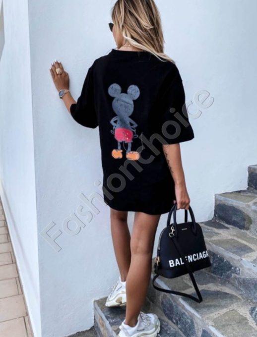 Актуална широка тениска с щампа Мики- черен цвят Код 969-1