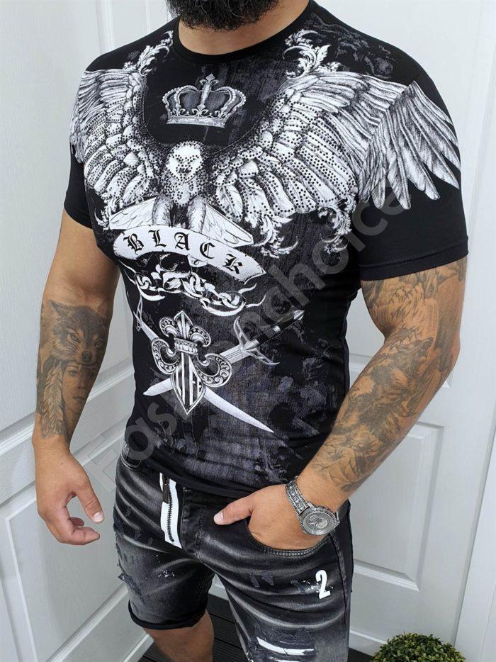 Мъжка тениска с щампа орел и корона в черно-код 051