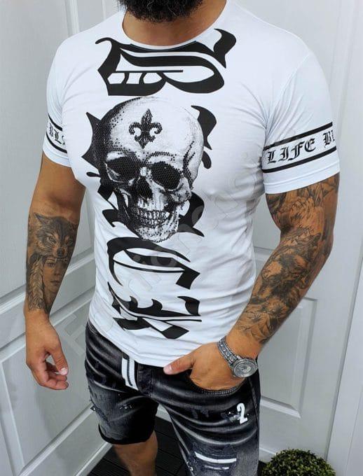 Мъжка тениска с актуална щампа череп и надпис в бяло-код 049