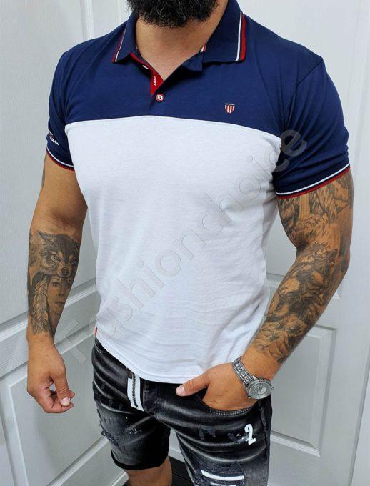 Мъжка блуза с якичка в бял/тъмносин десен-код 140
