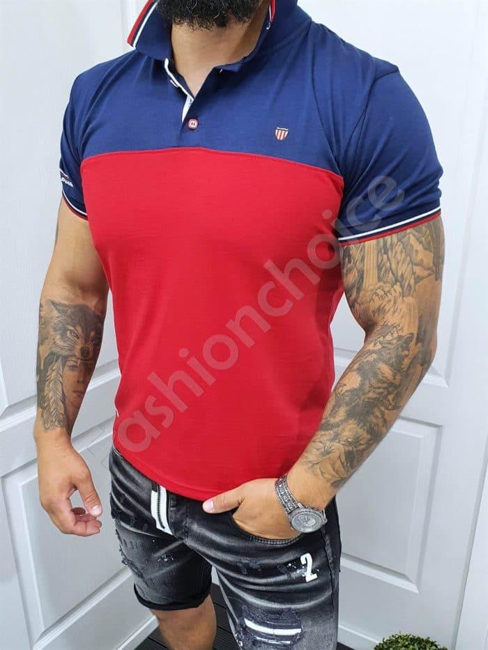 Мъжка блуза с якичка в червен/тъмносин десен-код 140-2