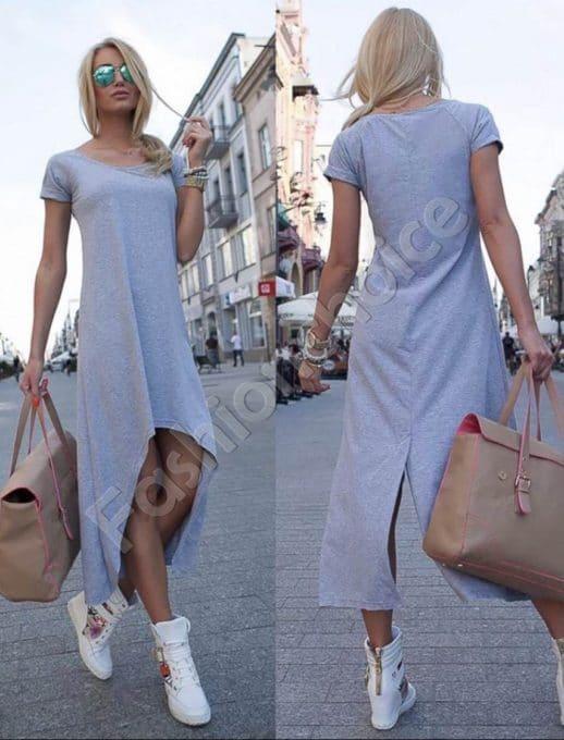 Дамска рокля с издължена задна част в сиво-Код 057-1