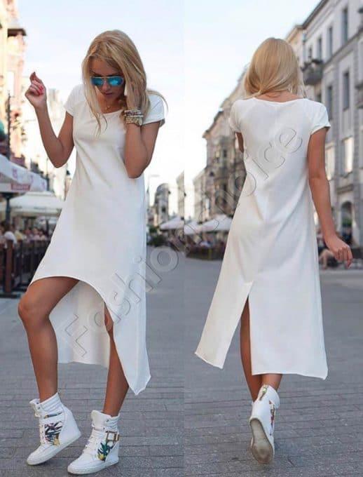 Дамска рокля с издължена задна част в бяло-код 057-2