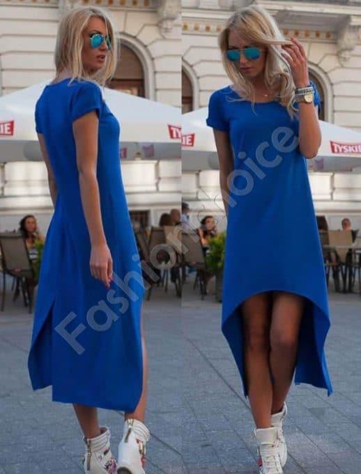 Дамска рокля с издължена задна част в кралско синьо-Код 057
