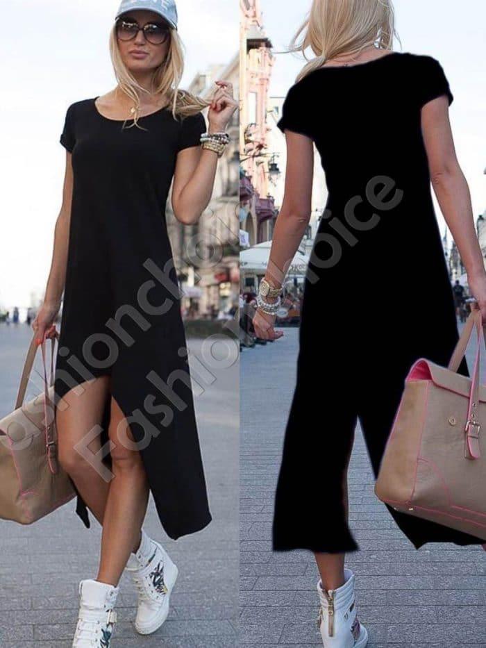 Дамска рокля с издължена задна част в черно-код 057-3