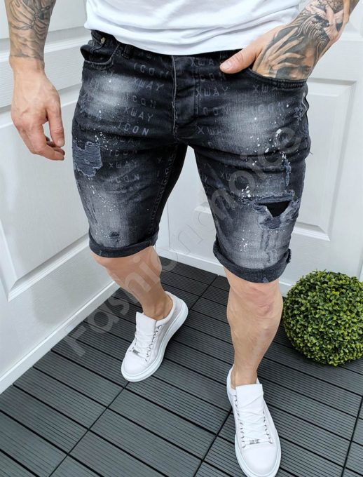 Мъжки къси дънки с надписи и надран ефект в черно-код 9008