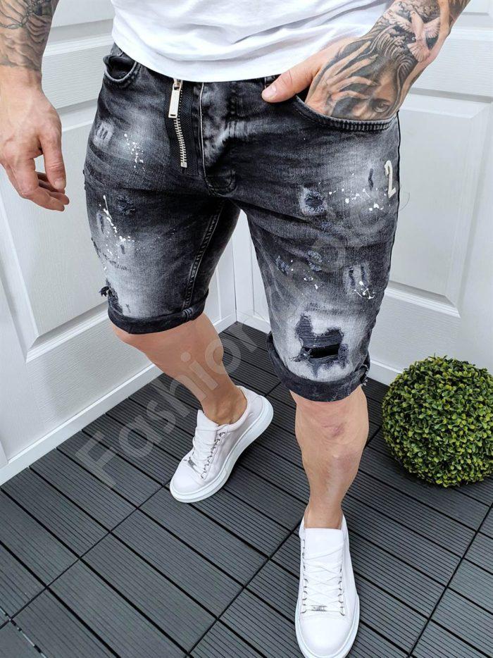 Мъжки къси дънки с омбре ефект и черен цип-код 9009