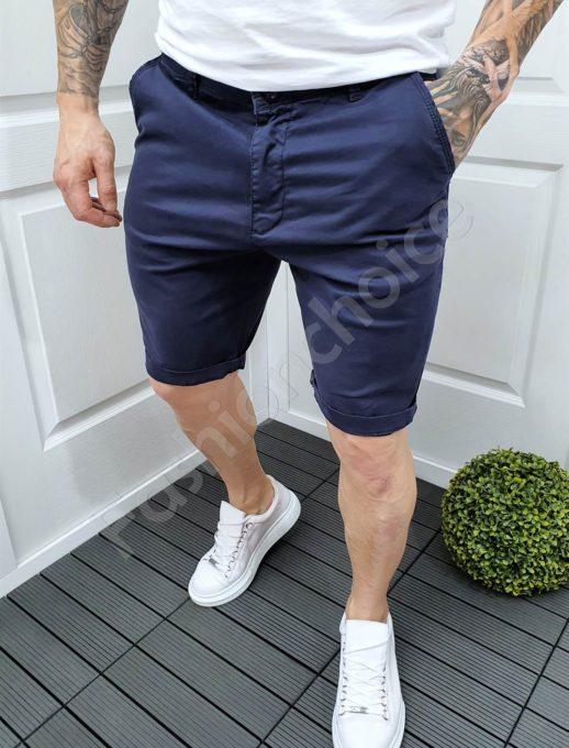 Мъжки къси панталони в синьо /големи размери/-код 979