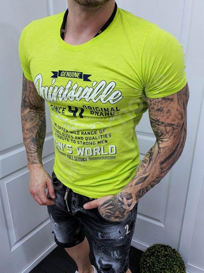 Мъжка тениска с надписи в резеда-код 070-4