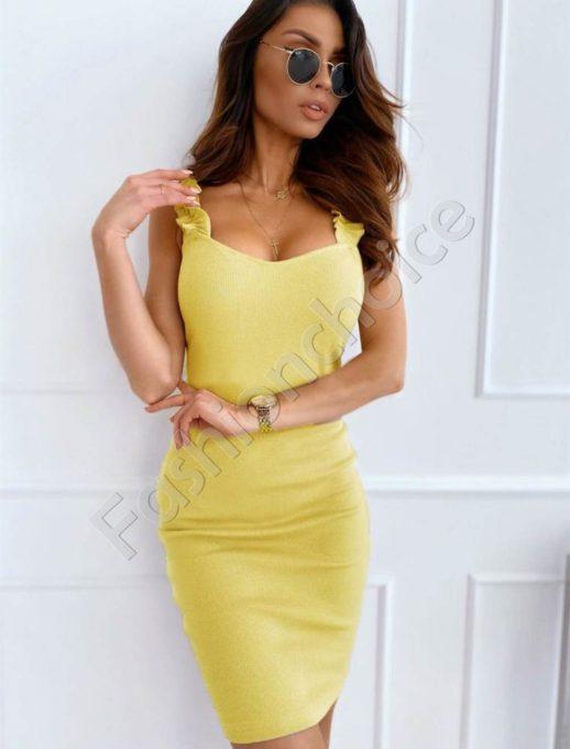 Елегантна дамска рокля с къдрички в жълто-Код 486-2
