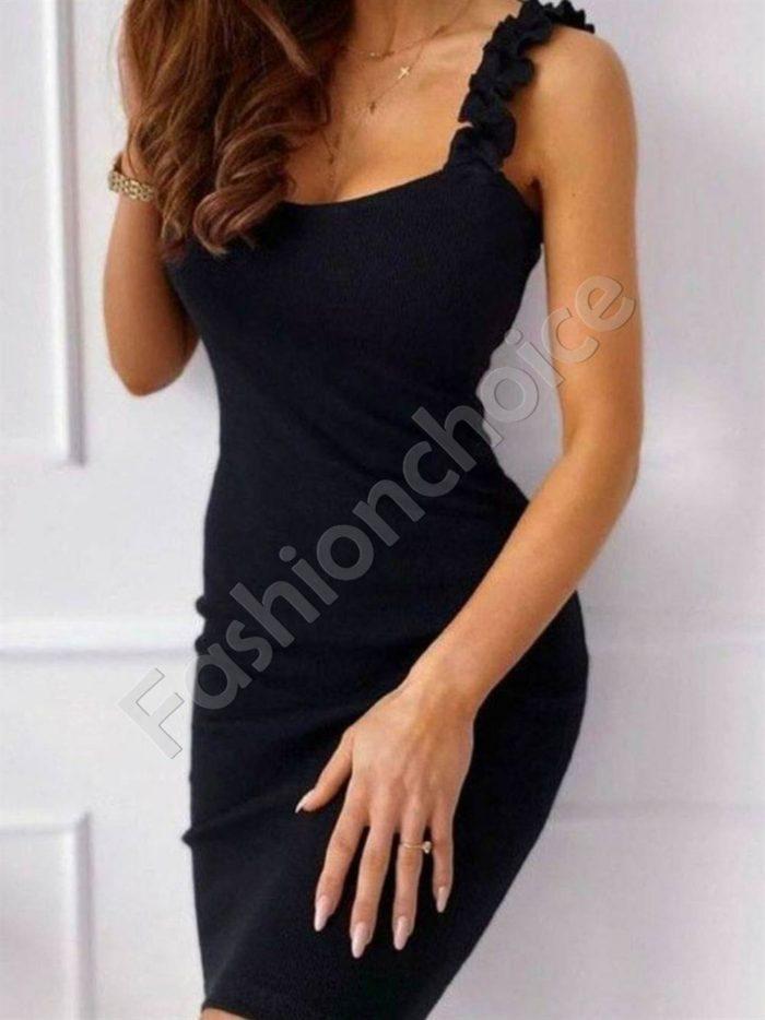 Елегантна дамска рокля с къдрички в черно-код 486-5