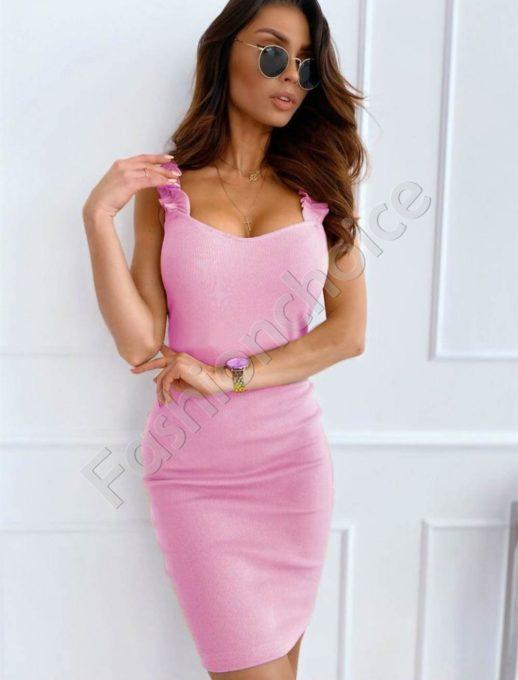 Елегантна дамска рокля с къдрички в розово-код 486-6