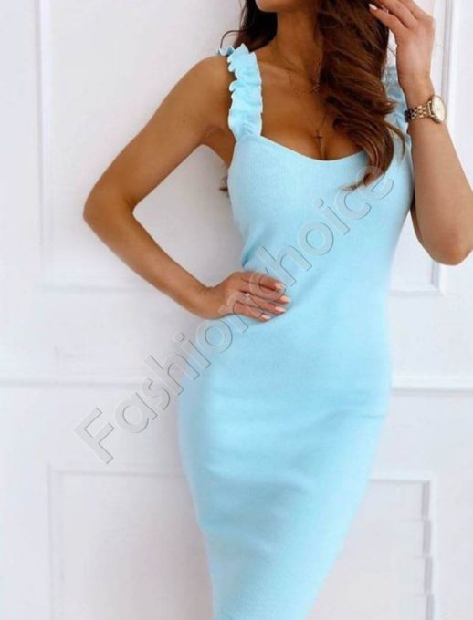 Елегантна дамска рокля с къдрички в цвят мента-Код 486-1
