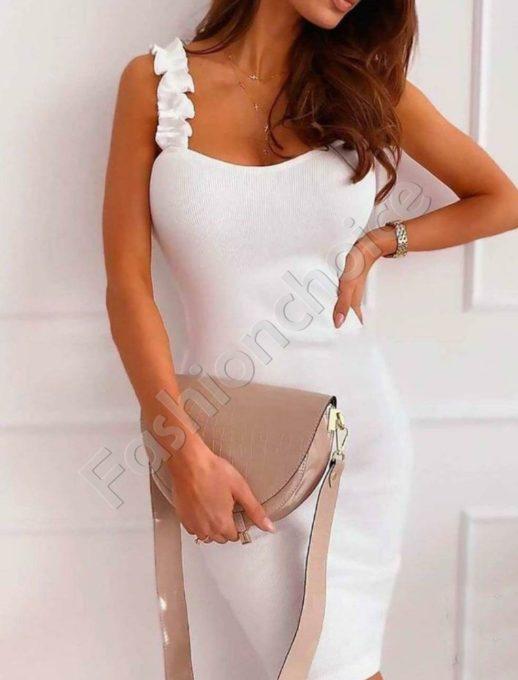 Елегантна дамска рокля с къдрички в бяло-код 486-3