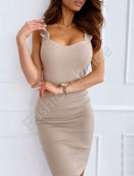Елегантна дамска рокля с къдрички в бежово-код 486-4