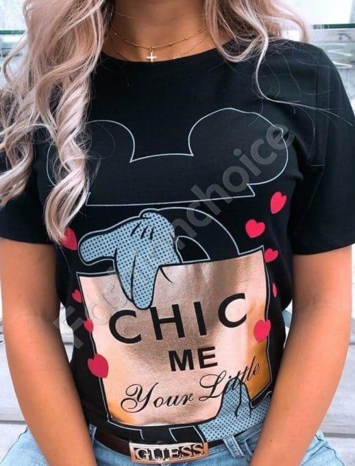 Дамска блуза със сърчица и щампа Мики в черно-код 981-1