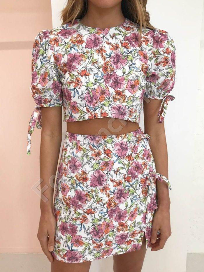 Нежен дамски комплект от пола и блузка на цветя-код 983