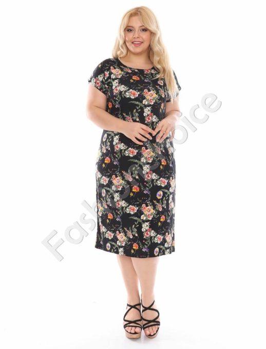 Макси рокля в черно с десен на рози-код 944-17