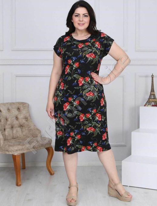 Макси рокля в черно с червени и сини цветя-код 944-18
