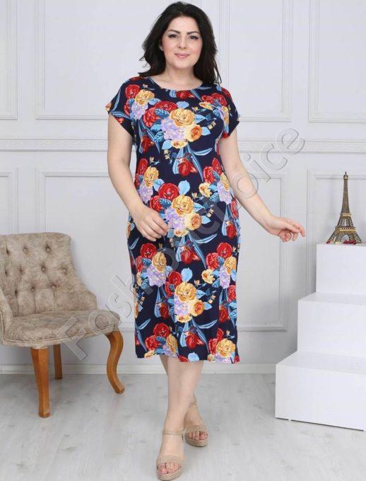 Макси рокля в тъмносиньо с пъстри цветя-код 944-19