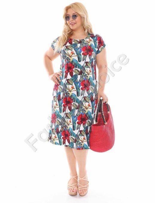 Макси рокля в бял десен с червени цветя-код 944-20