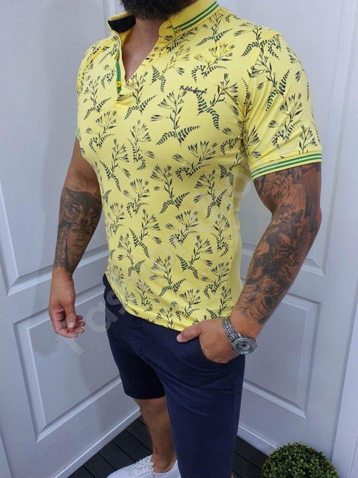 Мъжка блузка с якичка в десен на цветя-жълто-код 1058-1