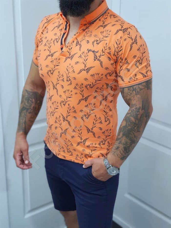 Мъжка блузка с якичка в десен на цветя-цвят оранж-код 1058