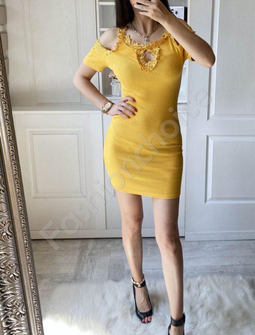 Елегантна рокля в цвят горчица с дантела-код 2302-5