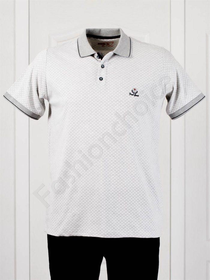 Мъжка макси блуза с якичка в светлосиво-код 402-1