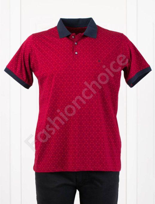 Мъжка макси блуза с различна якичка-цвят бордо-код 405