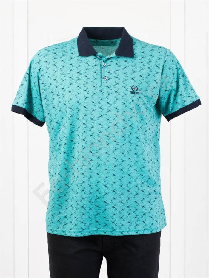 Мъжка макси блуза с различна якичка /3XL-10XL/-цвят мента-код 400