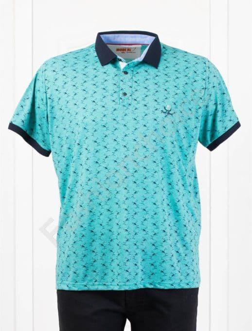 Мъжка макси блуза с различна якичка /3XL-8XL/-цвят мента-код 401-1