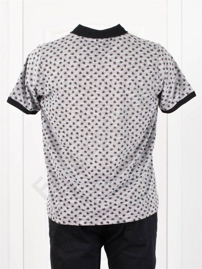 Мъжка макси блуза с различна якичка и свеж принт-сиво-код 404