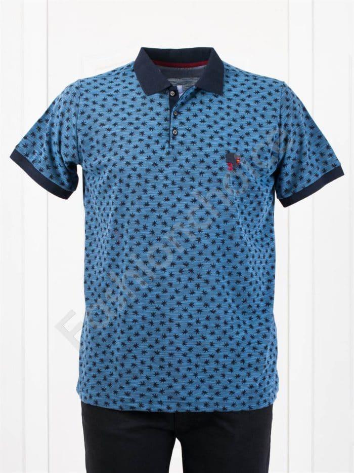 Мъжка макси блуза с различна якичка и свеж принт-парламент-код 404-1