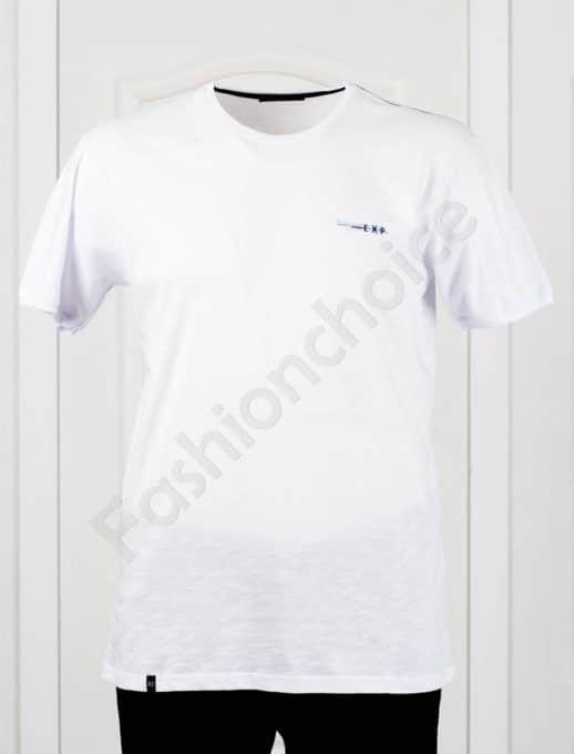 Изчистена мъжка макси тениска EXP в бяло-код 100-7