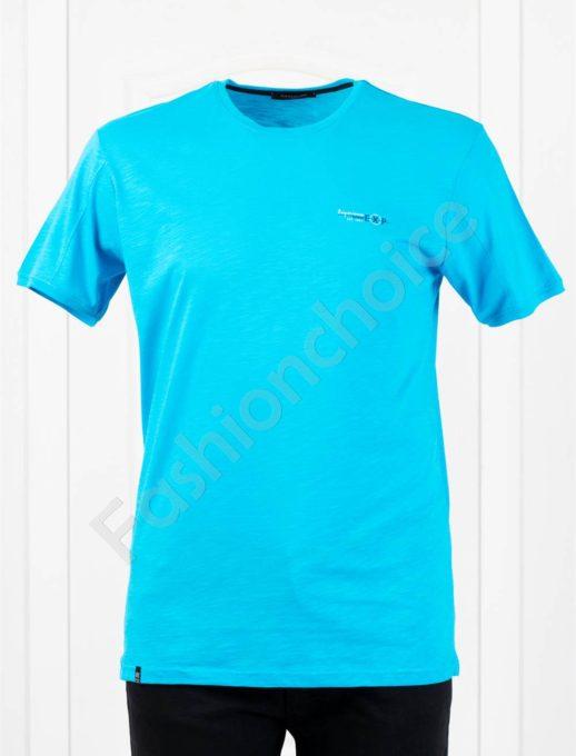 Изчистена мъжка макси тениска EXP в цвят тюркоаз-код 100-8