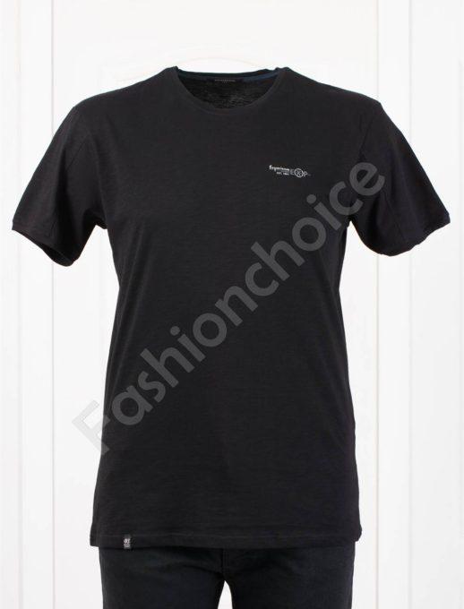 Изчистена мъжка макси тениска EXP в черно-код 100-9