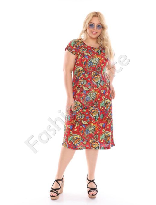 Макси рокля с красиви цветни орнаменти-корал-код 944-26