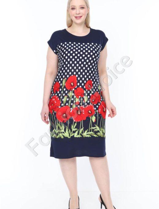 Дамска макси рокля с бордюр от червени макове-код 944-24