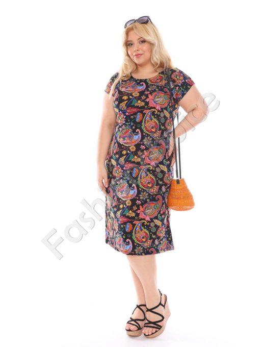 Макси рокля с красиви цветни орнаменти-черно-код 944-25