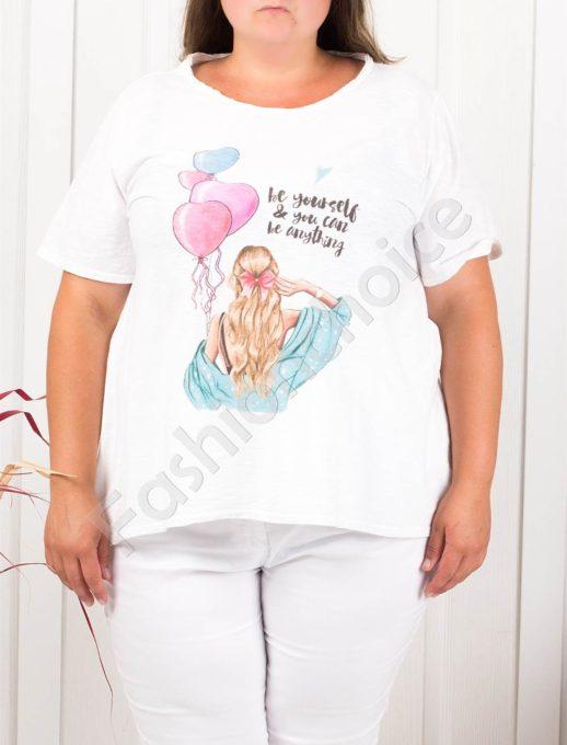 Дамска макси блузка в бяло със свежа щампа балони-код 614-2