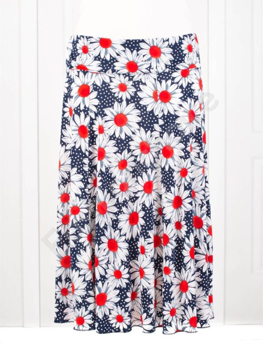 Разкроена макси цветна пола в десен на червени маргаритки-код 199-6