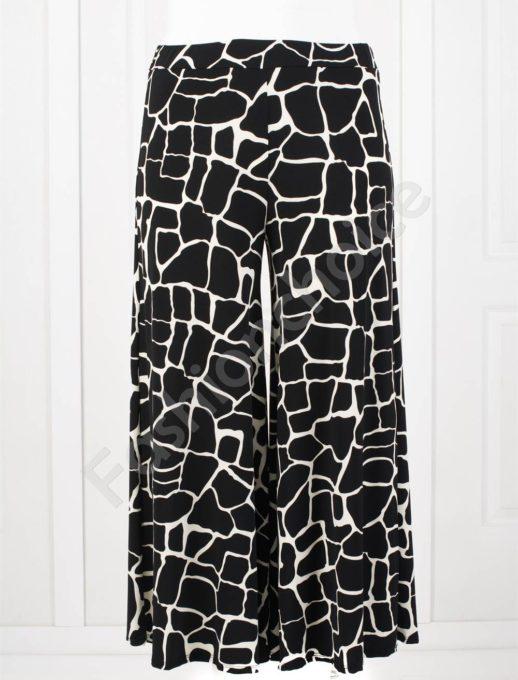 Дълъг макси пола-панталон в черно-бял десен-код 618-2