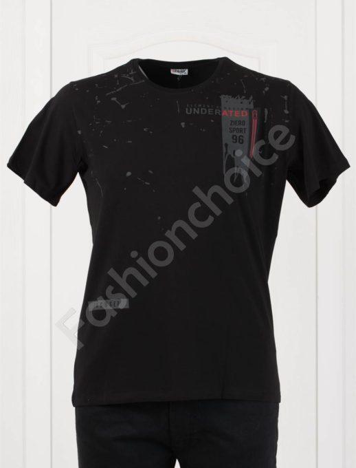 Мъжка макси тениска в черно с леко напръскан ефект-код 4101-1