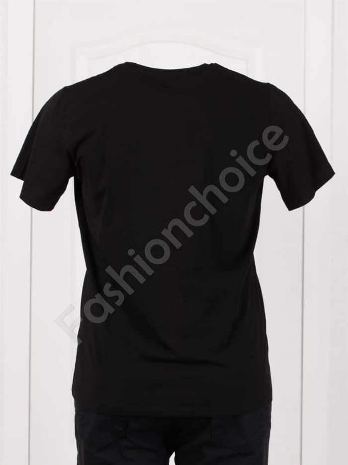Мъжка макси тениска в черно с мрежеста щампа и надпис-код 4101-2