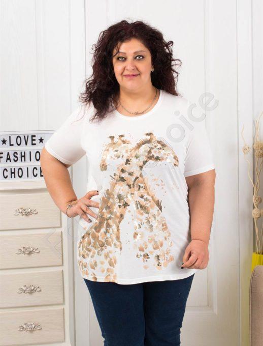 Макси блузка с блестяща весела щампа жирафчета-код 004